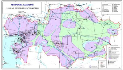 Map of major hydrocarbon fields