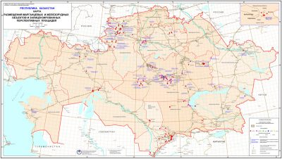 Map of manganese and iron ore mining facilities and licensed promising fields